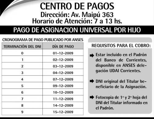 Cronograma de pago para asignacion universal mes de for Cronograma de pagos ministerio del interior